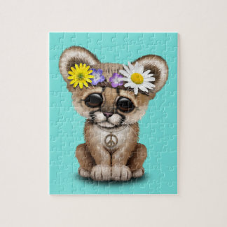 Cute Cougar Cub Hippie Jigsaw Puzzle