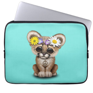Cute Cougar Cub Hippie Laptop Sleeve