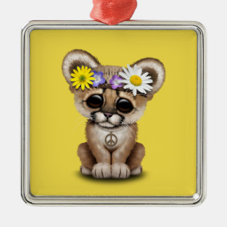 Cute Cougar Cub Hippie Metal Ornament