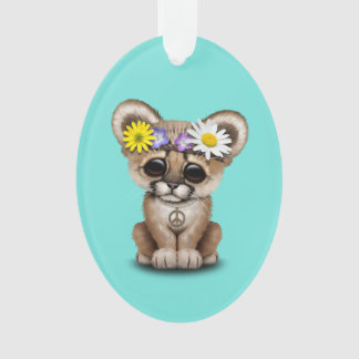 Cute Cougar Cub Hippie Ornament
