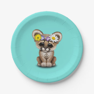 Cute Cougar Cub Hippie Paper Plate