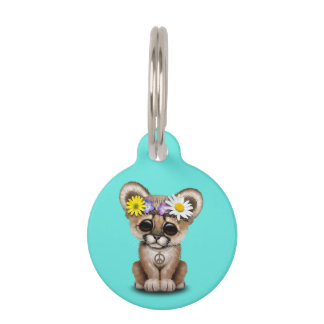 Cute Cougar Cub Hippie Pet ID Tag