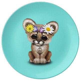 Cute Cougar Cub Hippie Plate