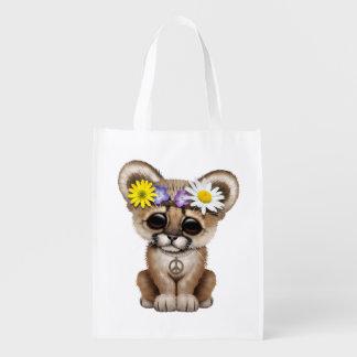 Cute Cougar Cub Hippie Reusable Grocery Bag