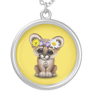 Cute Cougar Cub Hippie Silver Plated Necklace