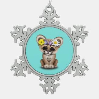Cute Cougar Cub Hippie Snowflake Pewter Christmas Ornament