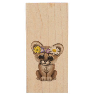Cute Cougar Cub Hippie Wood USB Flash Drive