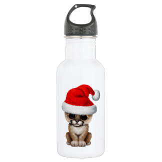Cute Cougar Cub Wearing a Santa Hat 532 Ml Water Bottle