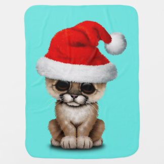 Cute Cougar Cub Wearing a Santa Hat Baby Blanket