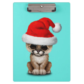 Cute Cougar Cub Wearing a Santa Hat Clipboard
