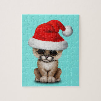 Cute Cougar Cub Wearing a Santa Hat Jigsaw Puzzle