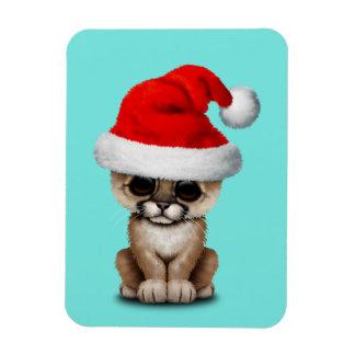 Cute Cougar Cub Wearing a Santa Hat Magnet