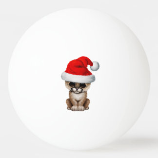 Cute Cougar Cub Wearing a Santa Hat Ping Pong Ball