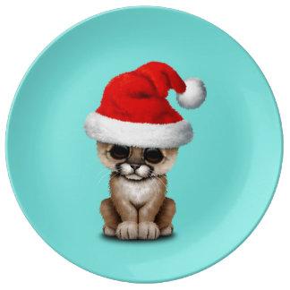 Cute Cougar Cub Wearing a Santa Hat Plate