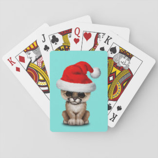 Cute Cougar Cub Wearing a Santa Hat Playing Cards
