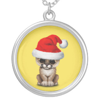 Cute Cougar Cub Wearing a Santa Hat Silver Plated Necklace