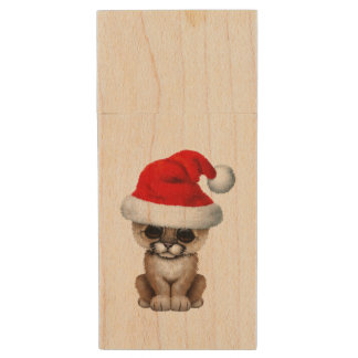 Cute Cougar Cub Wearing a Santa Hat Wood USB Flash Drive