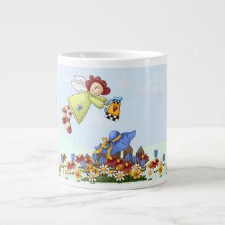 Cute Country Angel Watering Flowers Jumbo Mug
