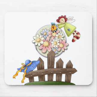 Cute Country Angel Watering Flowers Mouse Pad