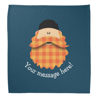Cute Country Bright Orange Plaid Bearded Character Bandana