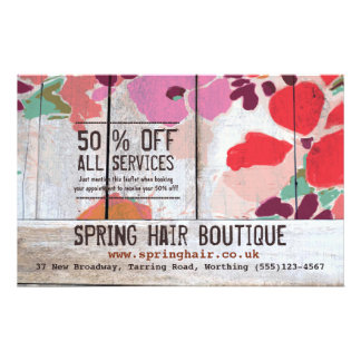 Cute Country Floral Wood Boutique Promotional 2 14 Cm X 21.5 Cm Flyer