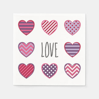 Cute Country Pattern Hearts Love Valentine Paper Napkin