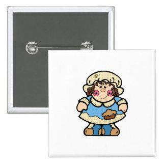 cute country pilgrim girl 15 cm square badge