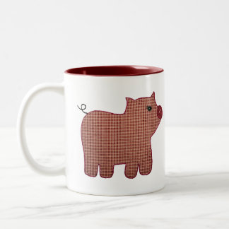 Cute Country Pink Plaid Pig New Baby Mugs