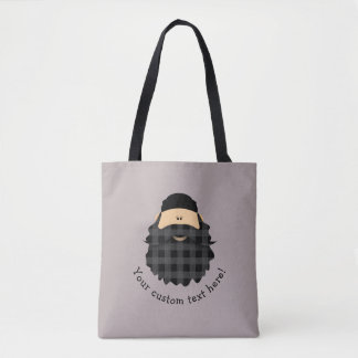 Cute Country Plaid Dark Black Bearded Character Tote Bag