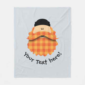 Cute Country Plaid Orange Bearded Character Fleece Blanket