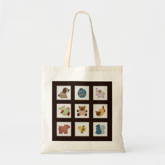 Cute Country Style Baby Animals Quilt Budget Tote Bag