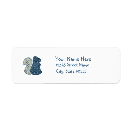 Cute Country Style Blue Squirrel Return Address Label