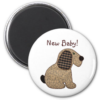 Cute Country Style Gingham Dog New Baby 6 Cm Round Magnet