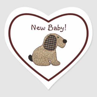 Cute Country Style Gingham Dog New Baby Heart Sticker