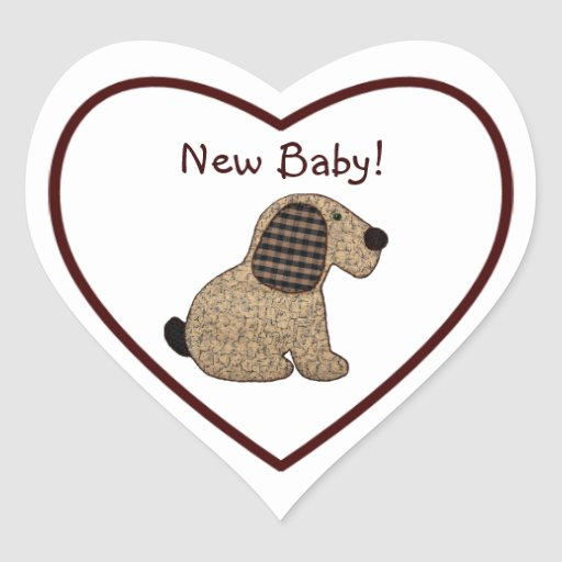 Cute Country Style Gingham Dog New Baby Sticker