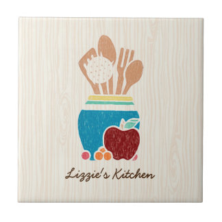 Cute Country Style Kitchen Utensils With Name Small Square Tile