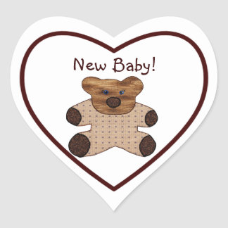 Cute Country Style New Baby Brown Teddy Bear Heart Sticker