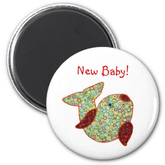 Cute Country Style Patchwork Goldfish New Baby 6 Cm Round Magnet