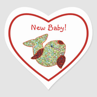 Cute Country Style Patchwork Goldfish New Baby Heart Sticker