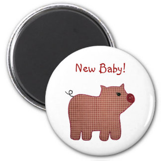 Cute Country Style Pink Plaid Pig New Baby 6 Cm Round Magnet