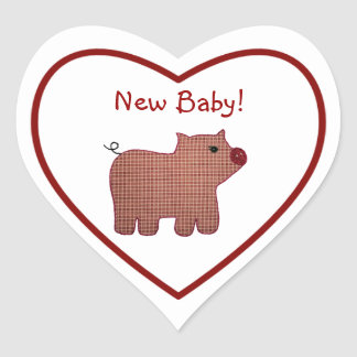 Cute Country Style Pink Plaid Pig New Baby Heart Sticker