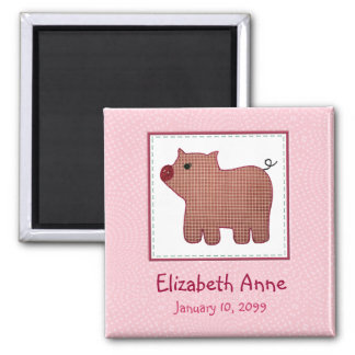 Cute Country Style Pink Plaid Pig New Baby Square Magnet