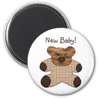 Cute Country Style Teddy Bear New Baby 6 Cm Round Magnet