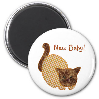 Cute Country Style Yellow Cat New Baby 6 Cm Round Magnet