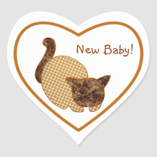 Cute Country Style Yellow Cat New Baby Heart Sticker