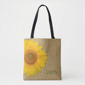 Cute Country Sunflower on Burlap Custom Tote Bag