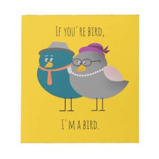 Cute Couple Birds Retro Yellow Notepad