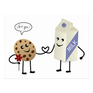 Cute Couple - Milk and Cookie Postcard