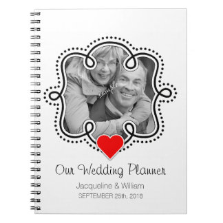 Cute Couple Photo Heart Wedding Planner Note Book
