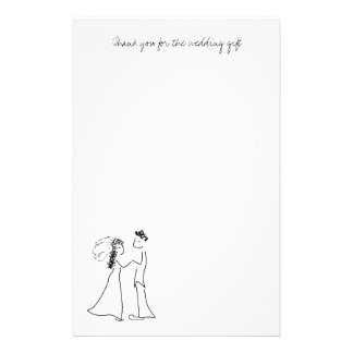 Cute Couple Thank You Note Paper Customized Stationery